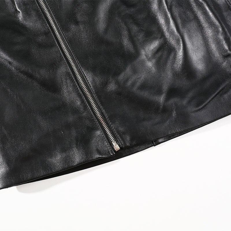 Jupes Féminine Motard Coréen Véritable Une Moto Noir Réel Et Ligne Peau Femmes Style Mouton Femme Jupe En Mini 2018 De Cuir SZnqwW1cc
