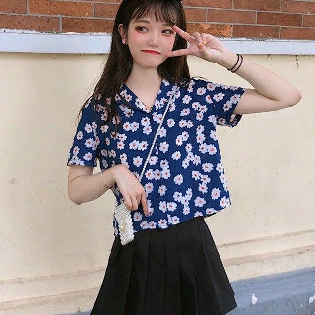 Blusa Casual de gasa de manga corta para mujer camisa suelta con cuello vuelto estampado Floral