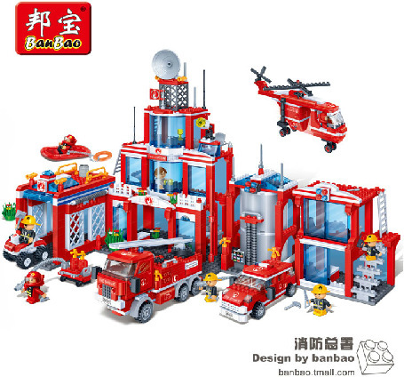 Banbao Model building kits compatible with lego city fire station 3D blocks Educational model building toys