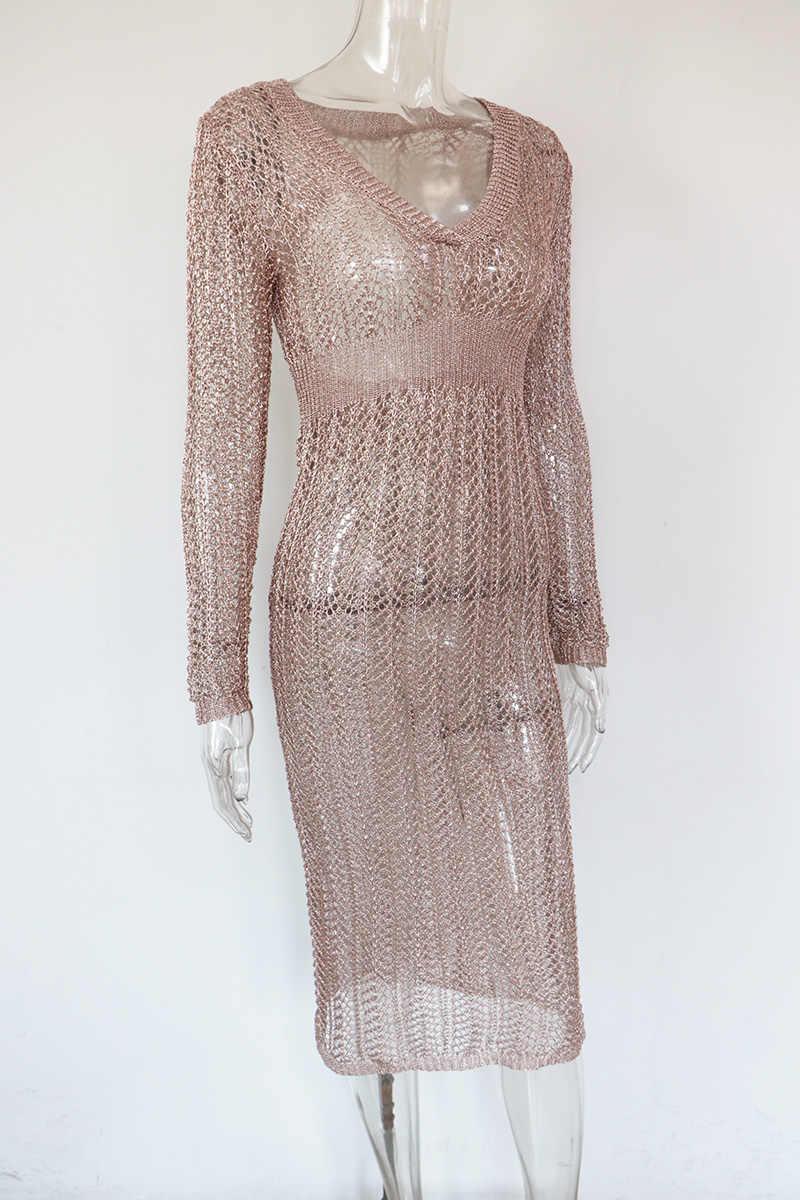Bonnie Forest одежда с длинным рукавом v-образный вырез цвета золотистый металлик, большие вязанные Платья-макси платье отвесная металлического трикотажного свитера Обёрточная бумага пляжное платье