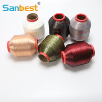 Sanbest 1 Piece Gold Silver Metallic Shiny Effect Embroidery Floss Sewing Thread Yarn For Knitting For