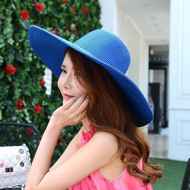 4e875fbe016 oZyc 2018 Fashion Women s Ladies  Foldable Wide Large Brim Floppy Summer  Sun Beach Hat Straw Hat Cap Drop Shipping 17 Color