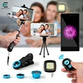 Selfie Stick Set Bluetooth Shutter Brighter LED Mobile Stand Camera Lens Fisheye macro wide angle lens for iphone Huawei Xiaomi