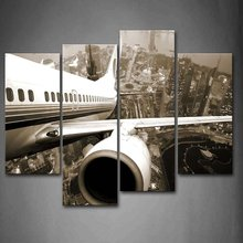 4 Panels  Canvas Photo Prints Aircraft Wings Wall Art Picture Canvas Paintings Wall Decorations ArtworkPaintings