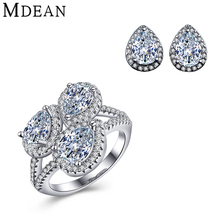 MDEAN white gold plated Jewelry Sets for women earrings+ring vintage CZ diamond jewelry wedding&Engagement Fashion Accessories