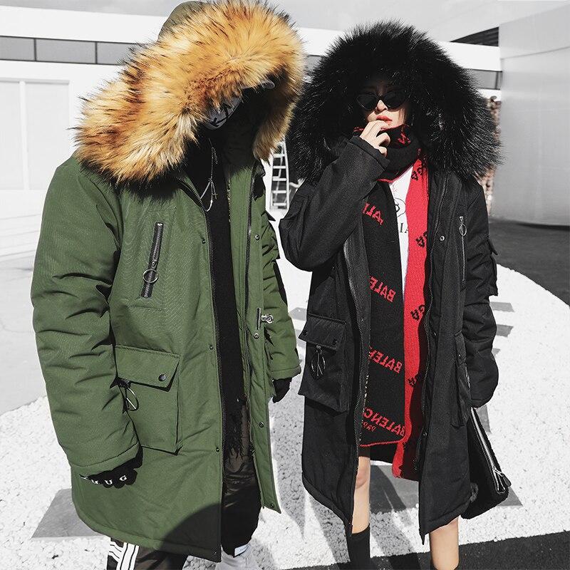 Couple Hiver Veste Hommes Mode Streetwear Décontracté Hip Hop une Parka À Capuche Veste Mâle Long Manteau En Coton Rembourré Vêtements D'extérieur