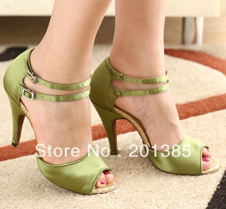 Green Satin Dance Shoes Latin Ballroom Shoes Salsa Dance Shoes Flamenco Dance Sandals Tango Shoes
