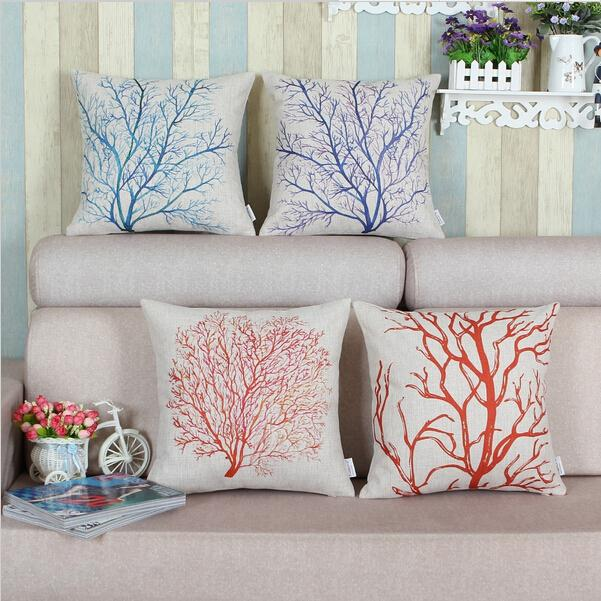 Decorative pillow shell car cushion cover home decor cotton linen blend blue, green, red coral tree 18