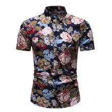 Casual Blouse Men's clothing Mens dress Shirts Floral Short sleeve Hawaiian Flower Men Shirt Fashion New long sleeve fashion floral blouse men flower mens dress shirts social hawaiian shirt men s clothing new