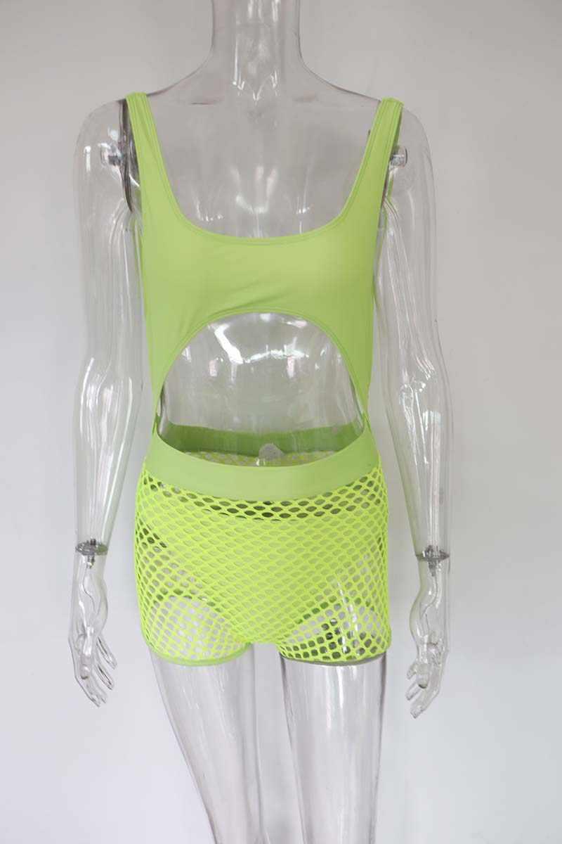 Beyprern Сексуальная вырезанная рыболовная сеть комбинезон 2 шт. модные неоновые зеленые обтягивающие цельные пляжная одежда стринги пляжный комплект оптовая продажа