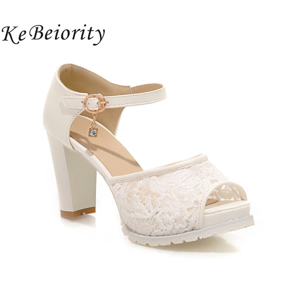 KEBEIORITY 2018 High Heel Shoes Woman Ankle Strap Platform Sandals Summer Pink White Wedding Shoes Pumps Women Sandalias new arrival black women pumps ankle strap sandals platform cutout shoes woman sexy thin high heel sandals size 34 to 42 free shi