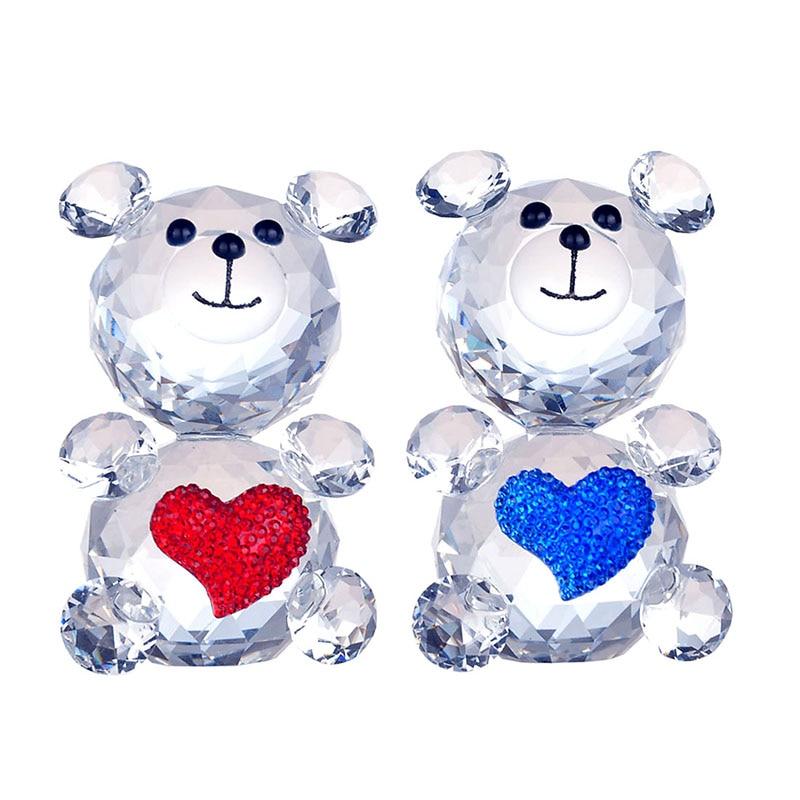 H&D 2PCS broušený křišťál milující roztomilý medvěd zvířecí figurka kolekce skleněná ozdoba domácí svatební výzdoba narozeninové dárky (červená a modrá)