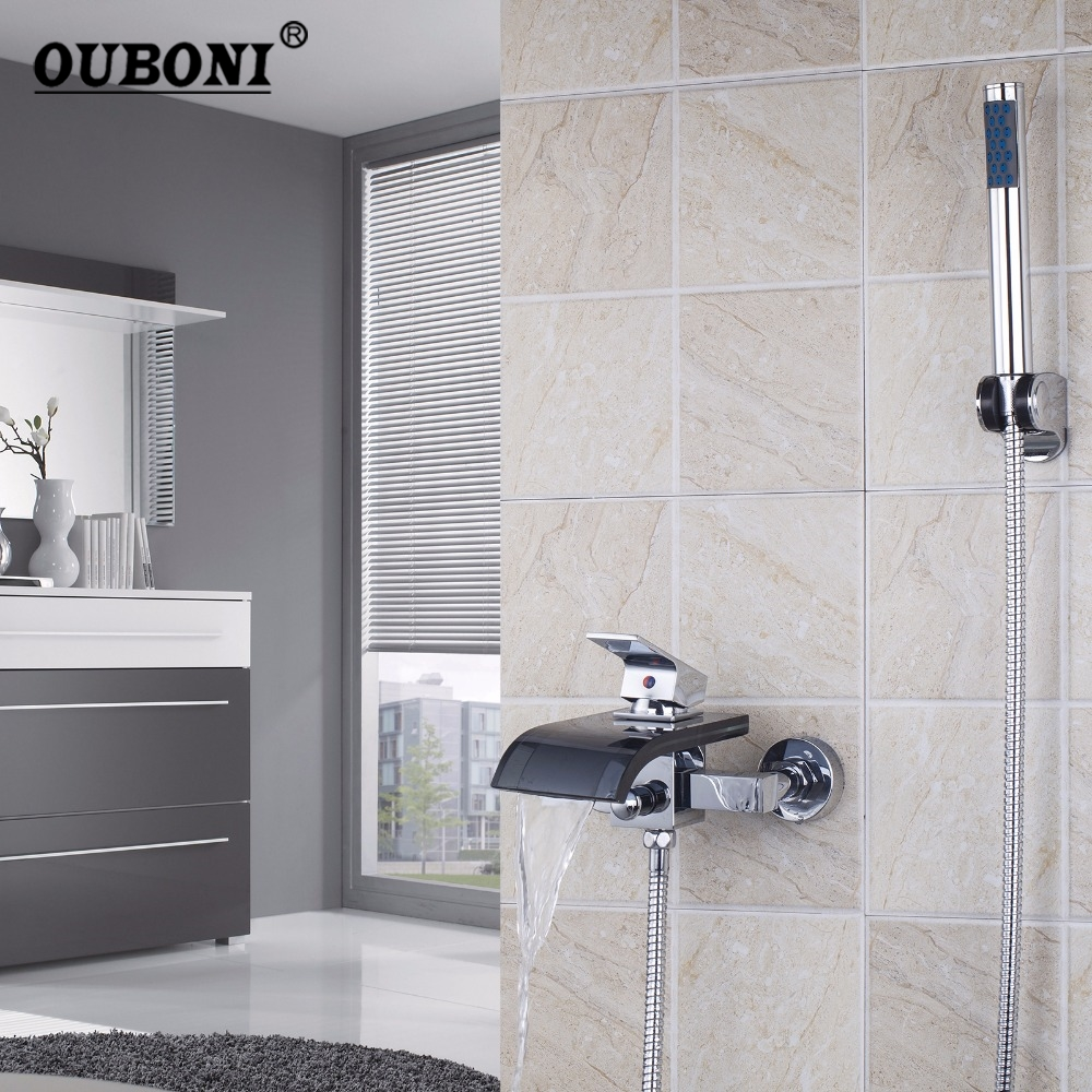 OUBONI Black Glass Spout Chrome Wall Mounted Single Lever With Handheld Shower Tap Mixer Faucet 1 piece free shipping anodizing aluminium amplifiers black wall mounted distribution case 80x234x250mm