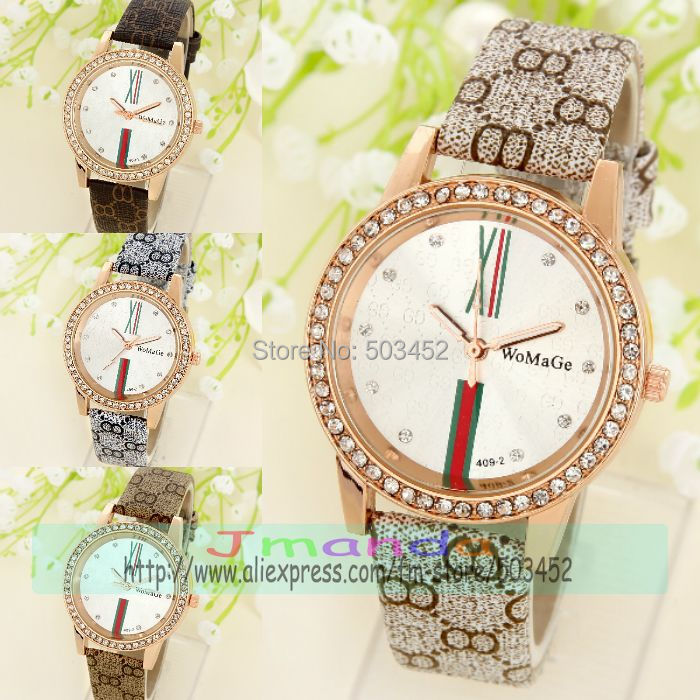 100pcs lot WOMAGE 409 2 Exclusive PU Leather Watch Fashion Ladies Crystal Dress Watch Factory Price