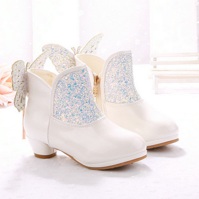 ef8d5565aae8 2019 Winter Girls Fashion Kids Boots Children Princess Boots Girls Party High  heel Shoes Dress Dancing Shoes EU Size 27-38