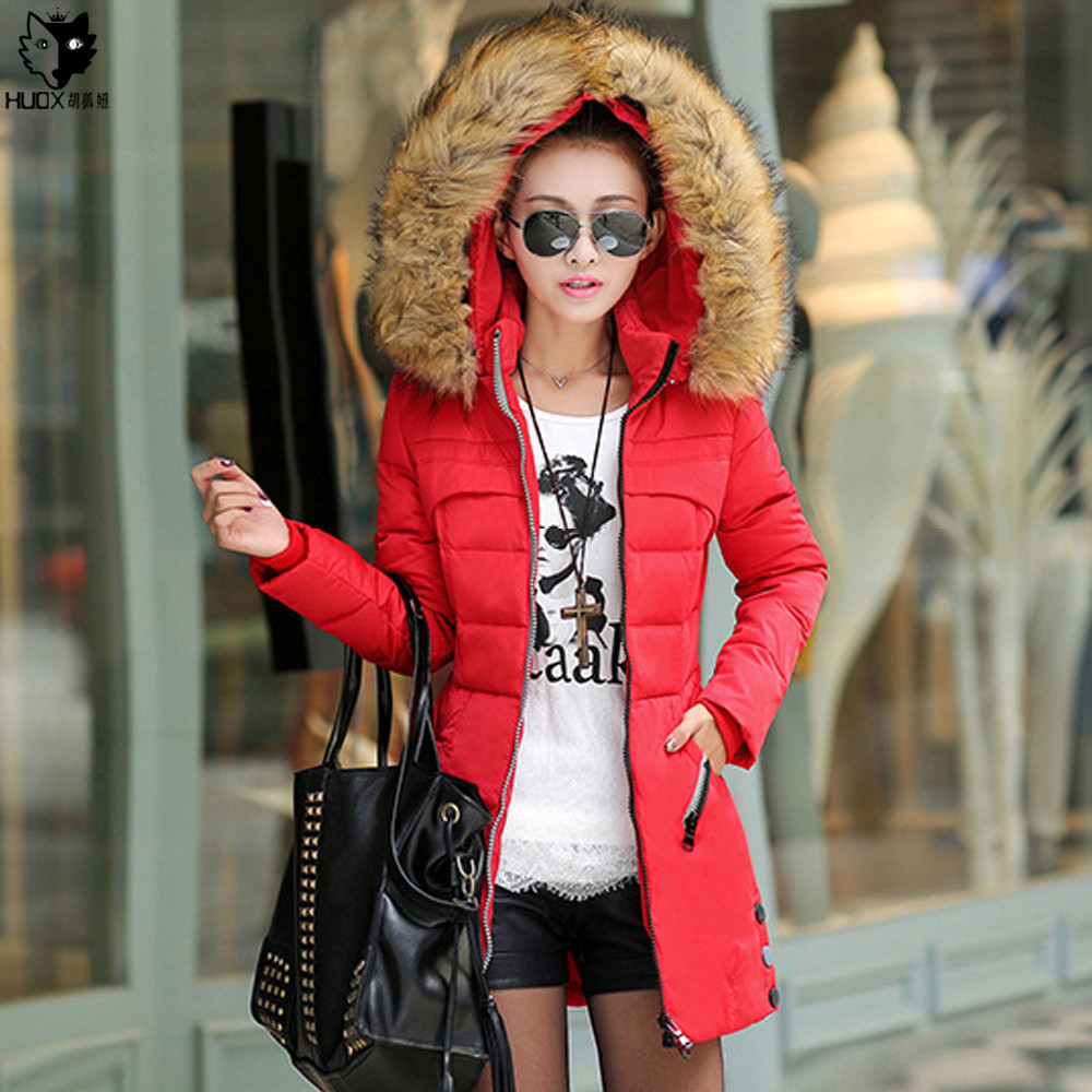 HUOX Faux Fur Collar Hooded Winter Women Overcoat Korean Slim Zipper Pocket Cotton Cloth Padded Coat Lady Warm Jacket Parkas