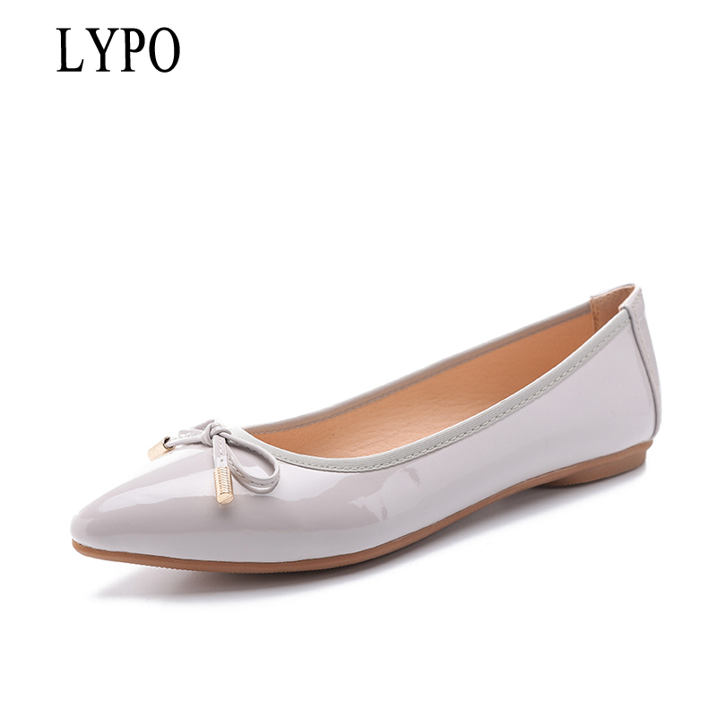 LYPO New 2018 Korean version Pointed toe Single Shoes Women Spring Autumn Shallow Mouth Flats shoes Women simple Bow Women 2018the new women s patent leather and shoes classic korean version of the classic korean shoes red wedding shoes