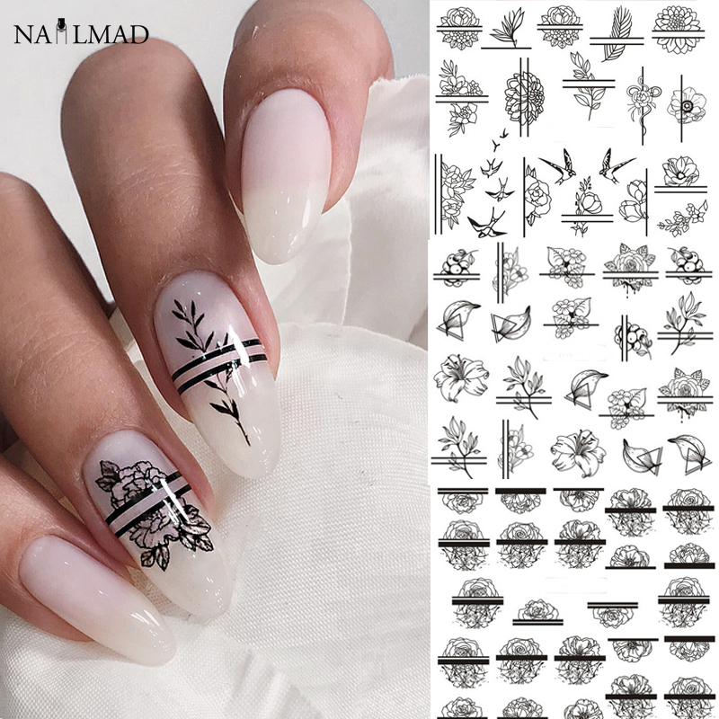12pcs Black Flower Slider Nail Sticker Flower Water Transfer Decals Nail Art Tattoo Summer Salon Tips Nail Accessories
