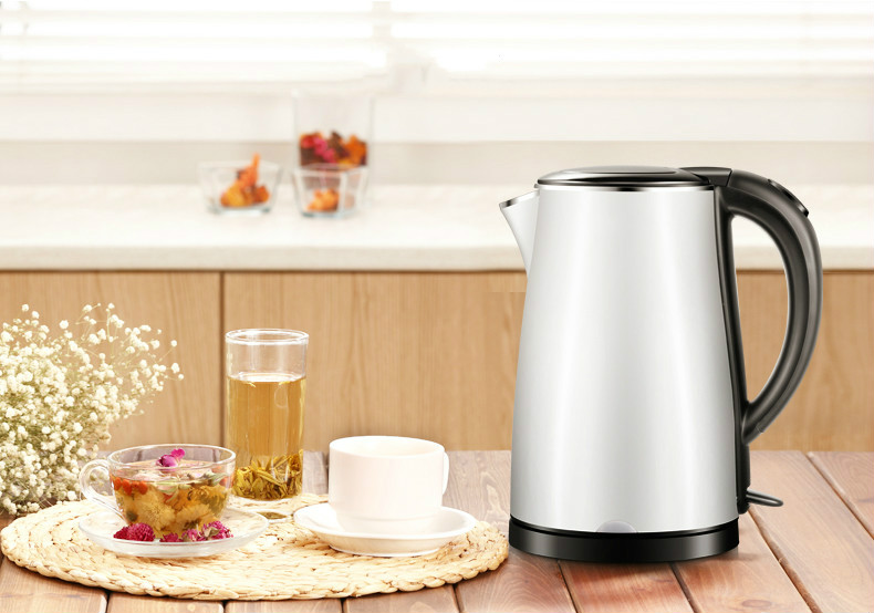 Electric heating kettle household 304 stainless steel automatic power mute fast Overheat Protection free shipping electric kettle automatic power double layer heat insulation 304 stainless steel overheat protection