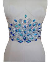 A121 Pure hand made clear AB colour/Peacock blue sew on Rhinestones applique crystals patches 32*17cm dress accessory