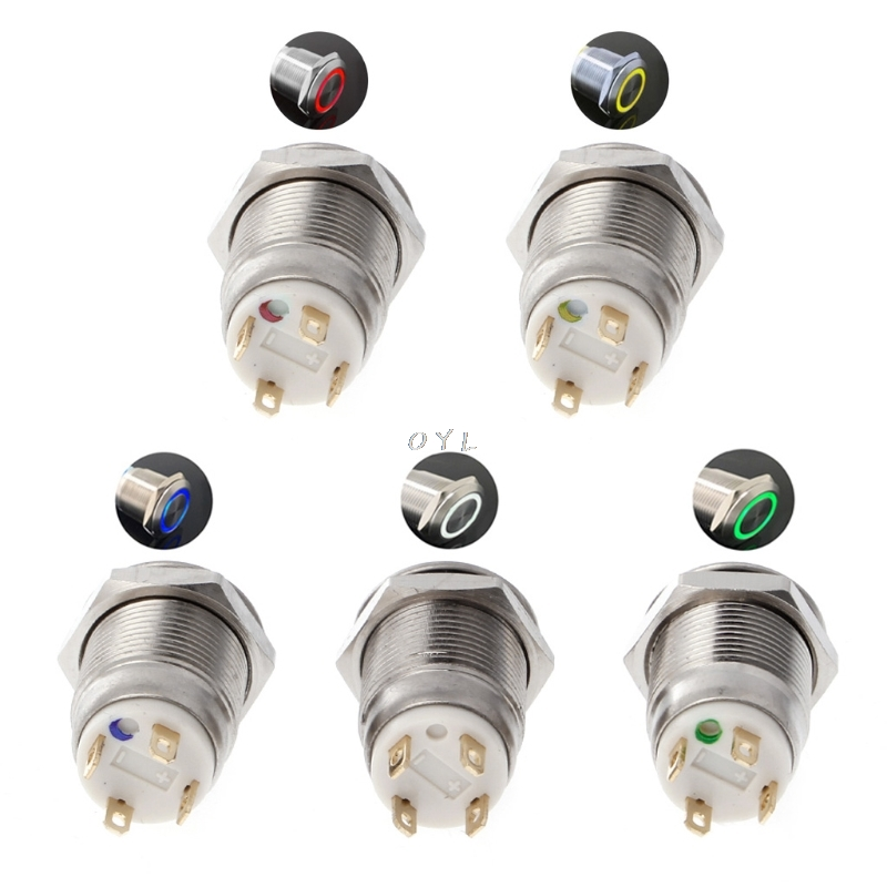Obedient 12mm Led Illuminated Metal Momentary Push Button Switch Boat Car 3a/220v Dc Fine Craftsmanship Air Conditioning Appliance Parts