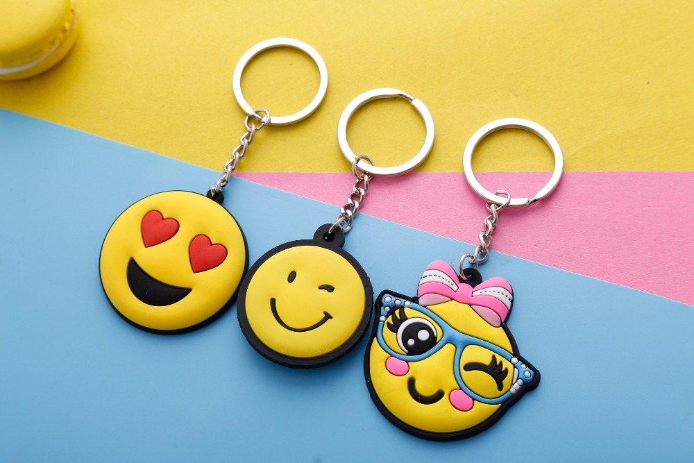 Single face cute expression PVC soft gel Auto cartoon animal Key Chain creative couple key ring small pendant key ring