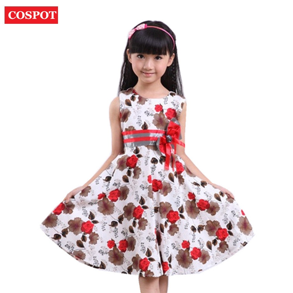 COSPOT Baby Girls Floral Dress Girl Summer Princess Birthday Party Dresses 2-15Yrs Girl's Fashion Dress for Wedding 2017 New D16 summer 2017 new girl dress baby princess dresses flower girls dresses for party and wedding kids children clothing 4 6 8 10 year