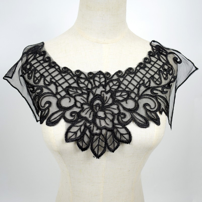 Black C Big Flower Iron on Embroidered Appliques Patch Embroidered Lace Fabric Ribbon Trim Neckline Collar