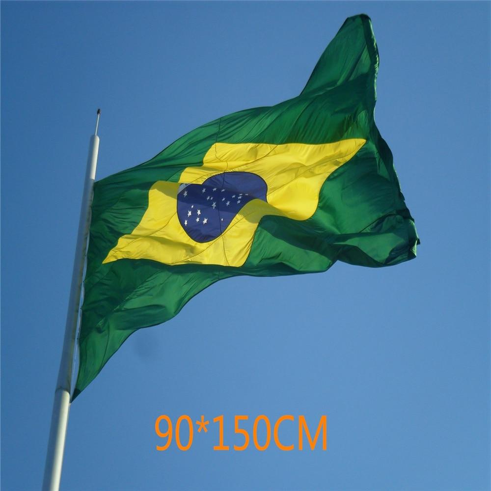 Brazil 3Ftx5Ft Flag Brazilian Football Cheerleader Flag 90x150CM Custom Super-Poly Indoor/Outdoor Decor National Flag Banner