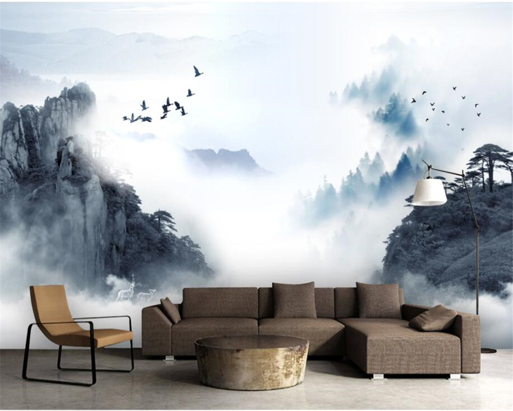 beibehang Modern home decoration 3D photo wallpaper Chinese ink landscape smoke background wall painting wallpaper living room beibehang wall panel wallpaper beibehang 3d balcony snowy lake landscape modern europe mural for large painting home decor