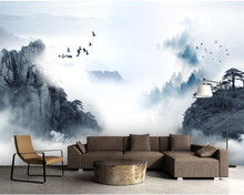 beibehang Modern home decoration 3D photo wallpaper Chinese ink landscape smoke background wall painting wallpaper living room 3d nature landscape wallpaper for living room home improvement photo modern wallpaper background wall painting mural silk paper