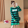 2017 new Cotton Stripe Thickening Maternity Dresses Nursing Clothes for Pregnant Women Breastfeeding Dress for Feeding Clothing