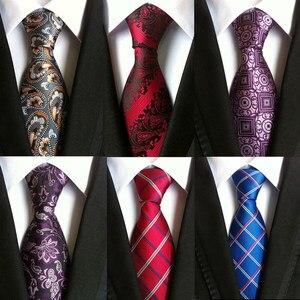 8 cm neck ties for men luxury 100% silk mens necktie 8cm corbata black Gravata Jacquard Slim Tie Business paisley corbatas seda