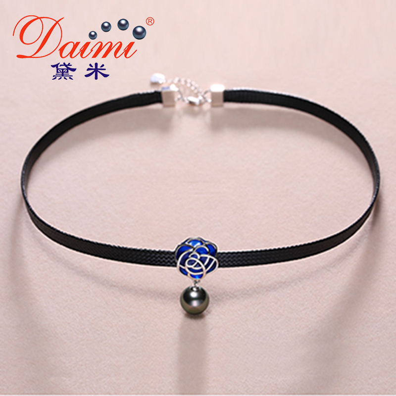 DAIMI Tahitian Pearl Choker Pendant 9-10mm Round Pearl Necklace Trendy Necklace Lady Best Gift