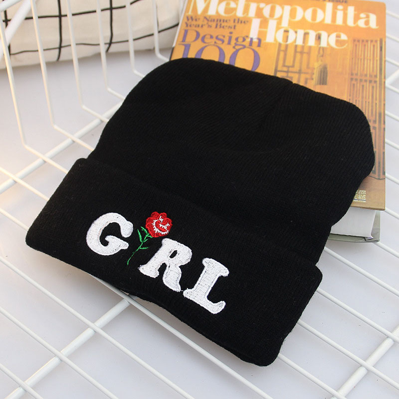 Fashion Women Beanies Warm Winter Hats Knitted Caps Rose Girl Embroidery Beanie Hats For Girls Ladies Skullies
