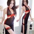 Se desliza mujeres caliente Negro cosplay completo antideslizante set intimates underwear slip
