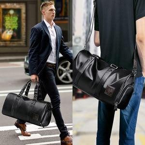 Image 2 - LIELANG ชายสีดำกระเป๋าถือหนังกันน้ำขนาดใหญ่ความจุ Duffle Multifunction Tote Casual Crossbody กระเป๋า