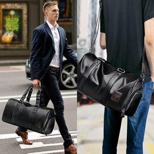 Image 2 - LIELANG Mens Black handbag Travel Bag Waterproof Leather Large Capacity Travel Duffle Multifunction Tote Casual Crossbody Bags