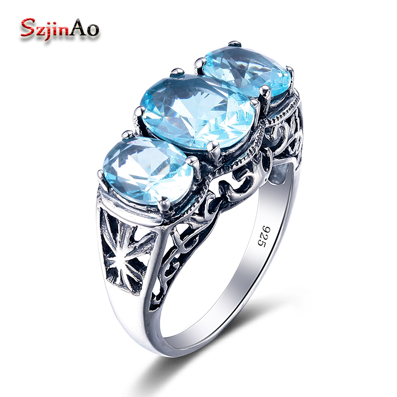 Szjinao Bohemian Big Shape Vintage Party Finger Ring Moonlight Blue Aquamarine 925 Sterling Silver Jewelry Rings Wholesale