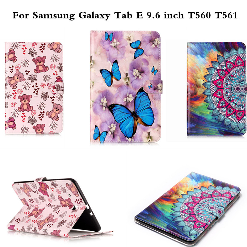 Fashion Animal PU Leather Cover sFor Samsung Galaxy Tab E 9.6 inch Tablet Case For Samsung Galaxy Tab E 9.6'' T560 SM-T560 T561 bf luxury tablet case for samsung galaxy tab e 9 6 sm t560 sm t561 t560 t561 pu leather flip cute book stand cover protector