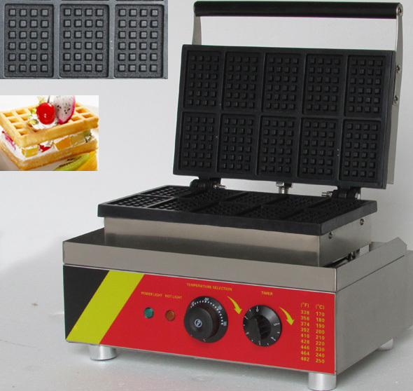 ten slices rectangle shaped  electric waffle iron, commerical  belgian waffle maker stick number ten
