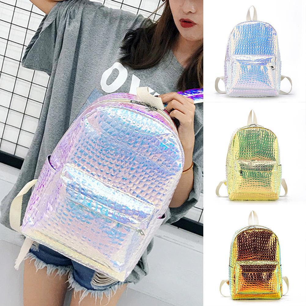 Women Backpack Travel-Bag School-Shoulder-Bag Large-Capacity Shiny High-Quality