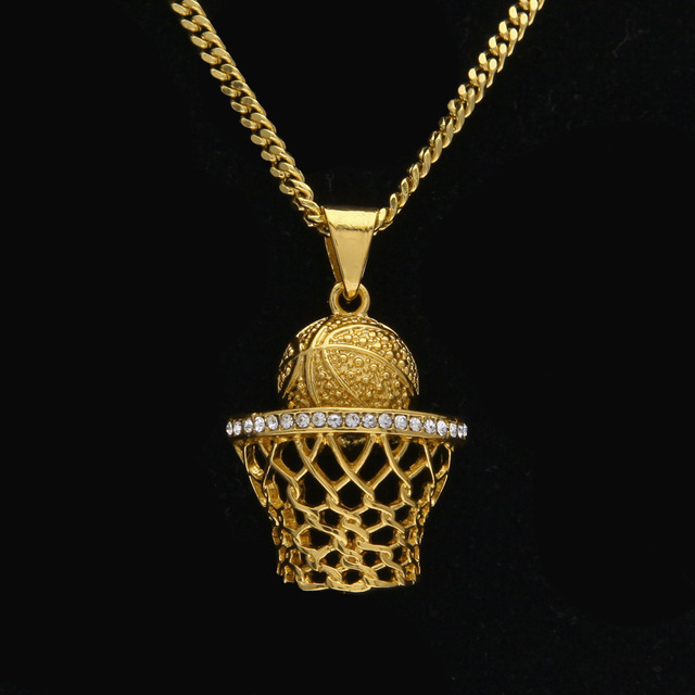Luxury Golden Rhinestone Hip Hop Crystal Pendants Necklaces Men Women  Basketball Jewelry Bling Crystal Dunk Chokers Chains 316c1d954e