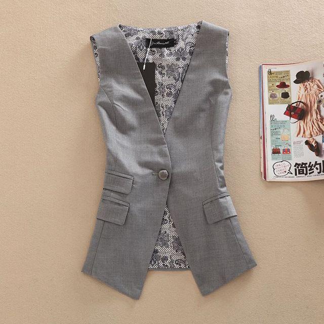 New Outono Colete Feminino Slim Fit Terno Blazer Colete Moda Sem Mangas das Mulheres Colete jaqueta colete De Negócio das Mulheres 72905