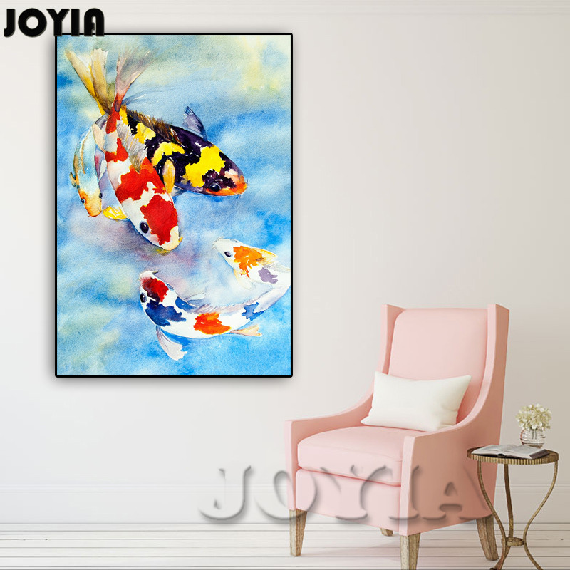 Color koi fish canvas wall art lucky fishes wall painting for Koi canvas print