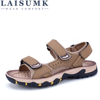LAISUMK Men Sandals Slippers Leather Zapatos High Qualit Sandalias Cowhide Summer Hook & Loop Shoes Outdoor Casual Suede Leather