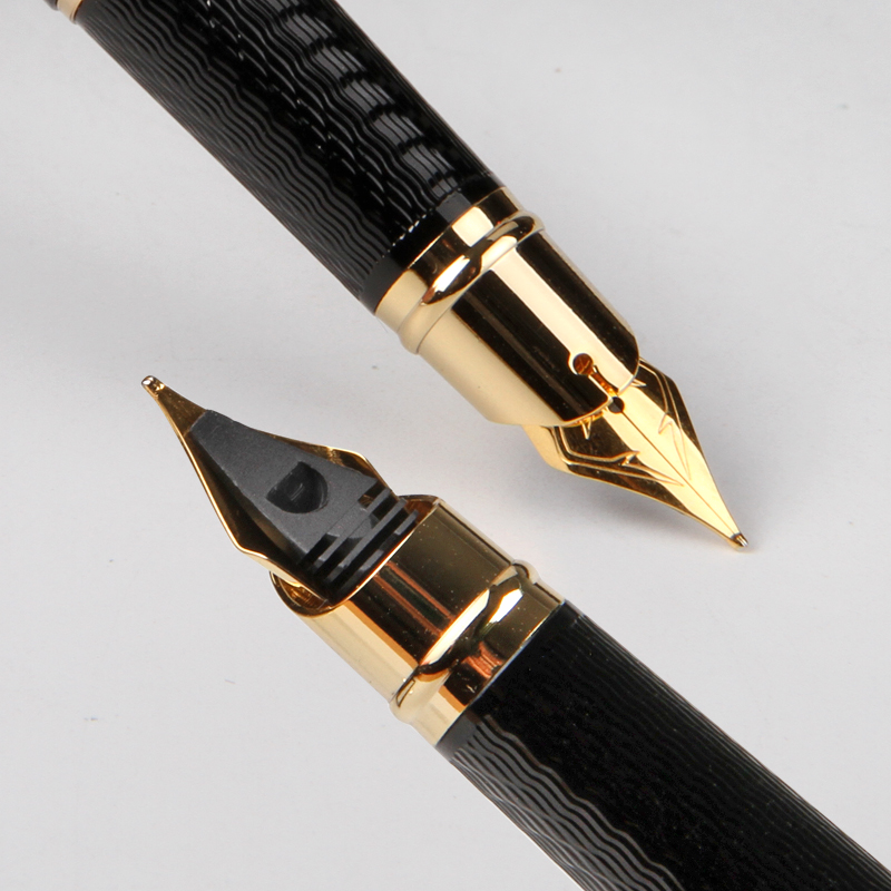 Pimio 917 Luxury Black and Gold Clip 0.5mm Metal Iridium Nib Fountain Pen with Original PU Gift Box Inking Pens Free Shipping