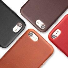 QIALINO Iş Hakiki Deri arka kapak iPhone 8 için Artı Ultra Ince Saf El Yapımı Telefon iPhone için kılıf 8 4.7/5.5 inç