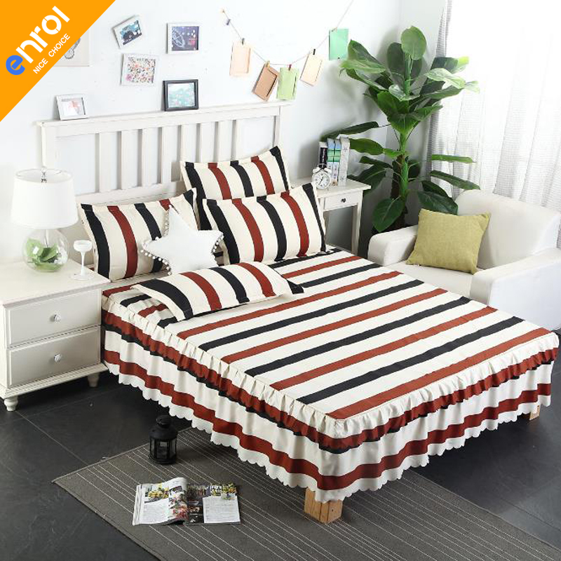 1piece romantic two layers bed skirt elegant floral bedspread cotton stripe bed sheet for wedding decoration princess bed cover