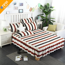 1piece romantic two layers bed skirt elegant floral bedspread cotton stripe bed sheet for wedding decoration princess bed cover(China)